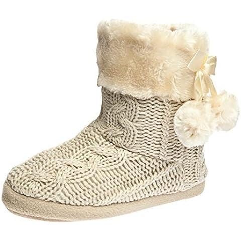 Airee Fairee - botines del deslizador zapatillas para interiores con bordes del tejido de punto y pompones , para