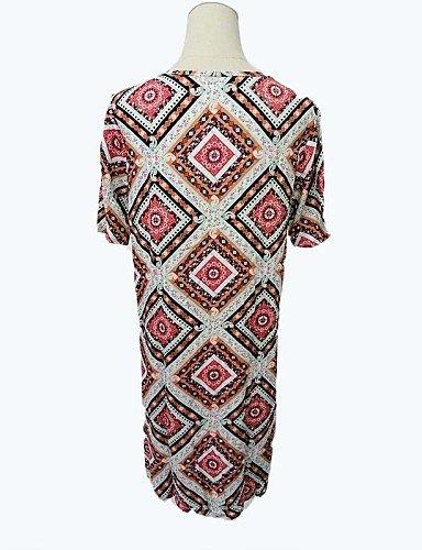 PU&PU Robe Aux femmes Ample Vintage,Géométrique Col en V Au dessus du genou Polyester FUCHSIA-XL