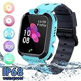 Niños Smartwatch - Reloj de Pulsera Inteligente con Ubicación GPS/LBS Reloj Despertador SOS Reloj Digital Cámara Juegos para Niños compatibles iOS/Android(Azul)