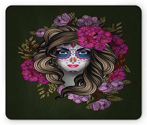 Makeup Mouse Pad, Calavera Day of The Dead Mexican Sugar Skull Faced Woman with Floral Head Halloween, Standard Size Rectangle Non-Slip Rubber Mousepad, Multicolor