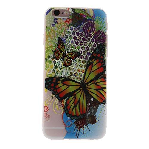 iPhone 6 Hülle, Voguecase Silikon Schutzhülle / Case / Cover / Hülle / TPU Gel Skin für Apple iPhone 6/6S 4.7(Lace Teppich 06) + Gratis Universal Eingabestift Groß Bunt Schmetterling 01