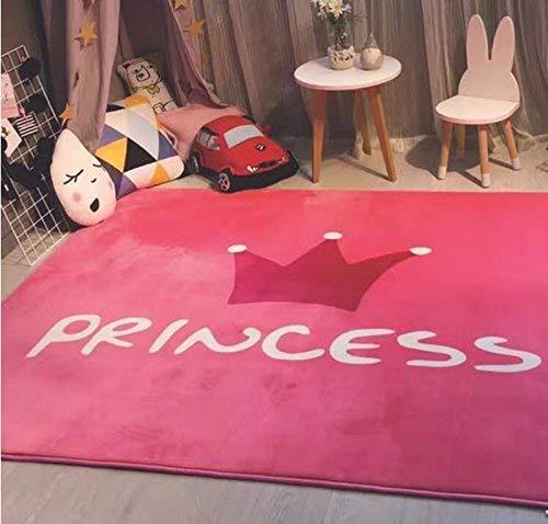 YMWLKE Decke LIU Coral Fleece rosa Krone Prinzessin Teppich Wildleder Samt Mädchen Kinder Wohnzimmer Schlafzimmer Teppich Sofa große Pad Spielmatte Crawlen, 145cmx190cm by