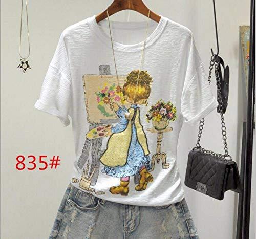 Preisvergleich Produktbild ljradj banxiu T-Shirt weiblicher Wilder Druck locker Top 2 XL