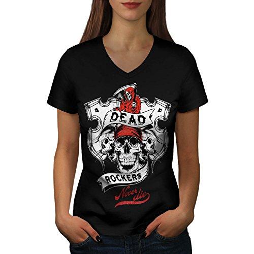 Tot Rockers Grimmig Schädel Damen L V-Ausschnitt T-shirt | Wellcoda (Krieger-schädel-t-shirt)