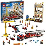 LEGO 60216 City Fire Downtown Fire Brigade with Fire Engine Truck Toy, Crane, Helicopter, Motorbike and 7 Minifigures, Fireman Toys for Kids