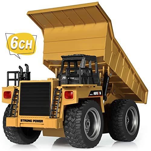 SGILE 6 Kanal Ferngesteuert Kipper Muldenkipper Spielzeug mit 360° Rotation und Blinkern, 2,4Ghz RC...