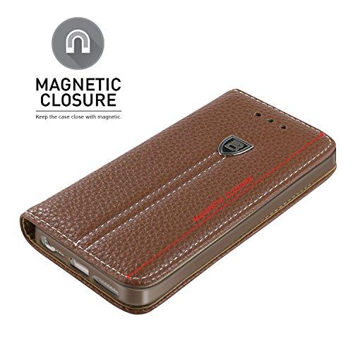 Handyhülle iPhone 5S, BEZ® iPhone 5S 5 SE Hülle, Schutzhülle Tasche Flip Case Schutzhüllen aus Kunstleder Hülle Klappetui mit Kreditkartenhaltern, Ständer, Magnetverschluss - Gold Braun