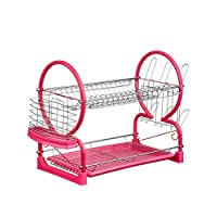 Kitchen Home 2 Tier Dish Drainer Cup Glasses Crockery Cutler Utensil Drainer (HOT PINK - 39 x 56 x 25 cm)