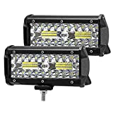 "Faro da Lavoro 7"" 120W 6000K 12000lm LED Luci Off Road Spot Flood Combo Beam Impermeabile IP67 per Led Luci di Lavoro Fuoristrada Camion SUV UTV ATV Off Road Moto(2PCS)"