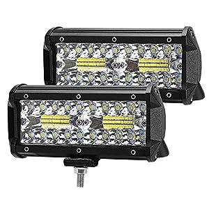 ZREE Focos Led Tractor,2 pcs 120W 7 Pulgadas Faros Led Trabajo IP68 Impermeable Focos de coche barra iluminación luz led 4×4 para Moto,SUV, ATV, Todoterreno, Barco, etc.