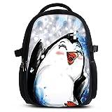 Rucksack für Jungen Mädchen Damen Herren - Schulrucksack Schulranzen Ranzen für die Schule - Backpack für Stadt/Sport für Kinder & Jugendliche - Cooles Design/aus Canvas Stoff - Pinguin