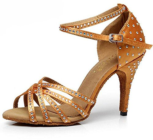 KUKI Diamond satin ladies scarpe da ballo latino scarpe da ballo per adulti da ballo sandali con tacchi alti 1
