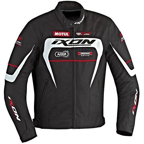 IXON Matrix Blouson Moto Textile Noir Blanc et Rouge