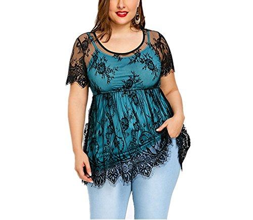 YUCH Damen T-Shirt, Spitze, Fake Zwei Stück Seil, Big Size Die Kleidung Von Frauen, Blau, Xl (Gaze-big-shirt)