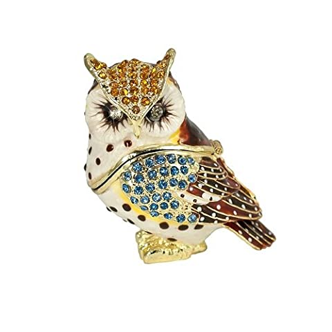 Pewter Wise Old Hoot Owl Jeweled Enameled Hinged Trinket Box by Welforth (Owl Jeweled Box)