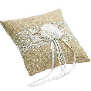 EinsSein 1x Ringkissen Jute Flower 20×20 groß beige Hochzeit Traukissen Eheringe Ringe Vintage Trauringkissen Hochzeitskissen Herzen Trauung