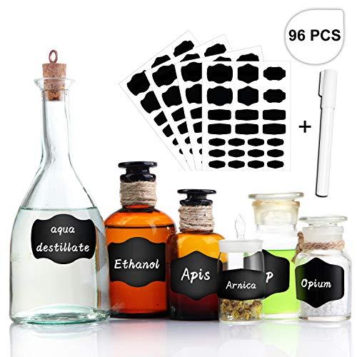 Tronisky - etichette autoadesive per lavagna, 96 pezzi, con penna, riutilizzabili, per barattoli, bottiglie, organizzare e scrivere, colore: nero