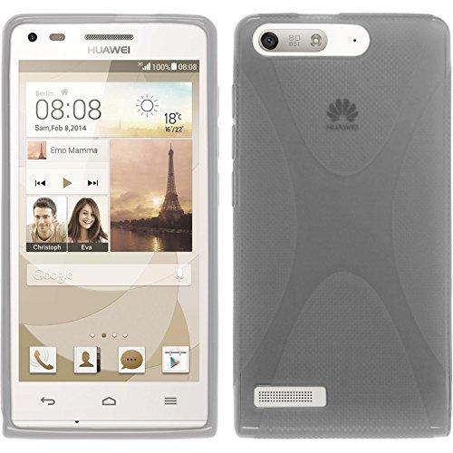 PhoneNatic Case kompatibel mit Huawei Ascend G6 - grau Silikon Hülle X-Style + 2 Schutzfolien