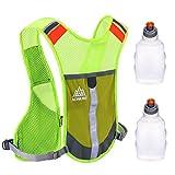 AONIJIE Reflektierende Premium-Weste Sicherheitswesten mit 2 Stk. 250mL Sport-Wasserflaschen zum Laufen, Fahrradfahren als Kleidung für Frauen und Männer, Sicherheitsausrüstung mit Taschen 3M Scotchlite mit reflektiver (Grün)