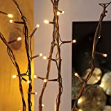 strombetriebene, beleuchtete, Herbst/Winter-Deko, 5 Zweige Weide Braun, 90cm, mit 50 LEDs in warmweiß (Braun) - 2