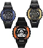 #8: Blue Diamond Boy's and Girl's Combo of 3 Digital Dial Watch 7 Light in Display (Black )