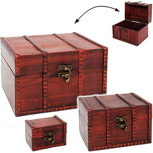 alles-meine.de GmbH kleine - Holz - Schatzkiste / Schatztruhe - aus Holz - Kiste & Truhe - Holzkästchen klein - Holzschatulle - Schmuckkasten - Holzkiste mit Deckel - für Kinder .. -