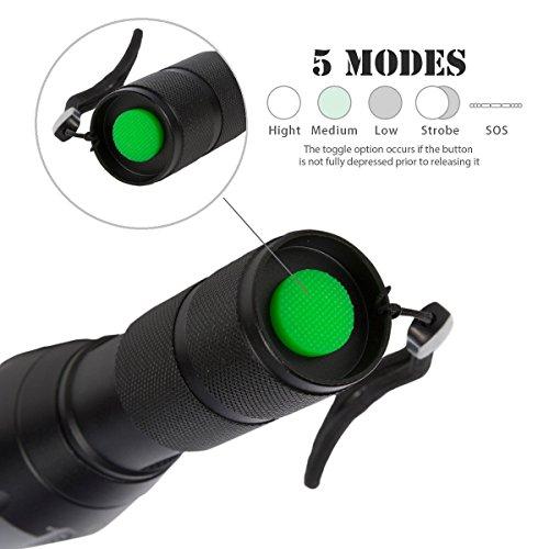 Coomatec SD-100 Ultra Puissante 900 Lumens Lampe de Torche Militaire Poche LED Zoom Flashlight