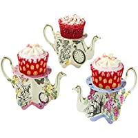 Talking Tables Truly Alice in Wonderland Teapot Cupcake Stands for Tea Party, Weddings and Birthday Party, Mad Hatter Party, Multicolour, 9oz (6 Pack)