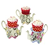 Talking Tables Truly Alice Teapot Cupacke Stands, Multicolor (6 Pack), for a Tea Party, Garden Party or Summer Wedding