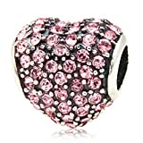 Heart with Paved Crystal Birthstone 925 Sterling Silver Charm Bead Fits Pandora Jewelry