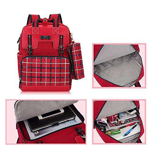 KINDOYO Jungen Mädchen Wasserdichte Rucksack für Kinder Unisex Schulrucksäcke Rucksack für Reisen, Wandern Rot