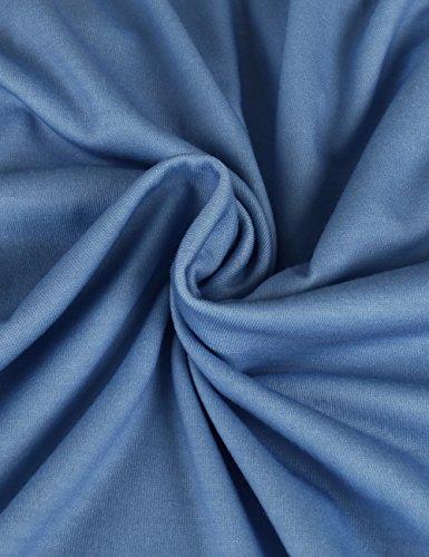 ISASSY Damen Sommerkleid Knielang Ärmellos Rundkragen Strandkleid Abendkleid A-Linie Kleid Blau