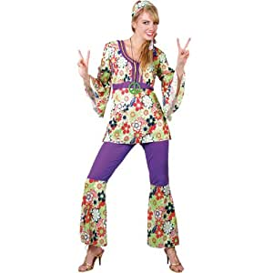 M Ladies Hippie Chick Costume for Hippy 60s 70s Fancy Dress