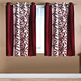 Home Candy Leave 2 Piece Polyester Window Curtain Set - 5ft, Maroon