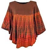Guru-Shop Batik Poncho, Tunika, Boho Kaftan, Maxibluse - Rostorange, Damen, Viskose, Size:One Size, Blusen & Tunikas Alternative Bekleidung