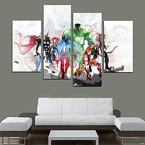 H.COZY 4 pieza Las Pinturas Vengadores pared del arte moderno lienzo Cuadros Decorativos Lienzos Pinturas de arte para la sala de pared (No Frame) sin marco. FCR20 (48 pulgadas x28 pulgadas)