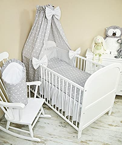 Amilian® 5-Piece Baby Bed Linen Set with Cot Bumper, Bed Sheet Pillowcase and Chiffon Canopy, Plus Bow Stars Print Grey