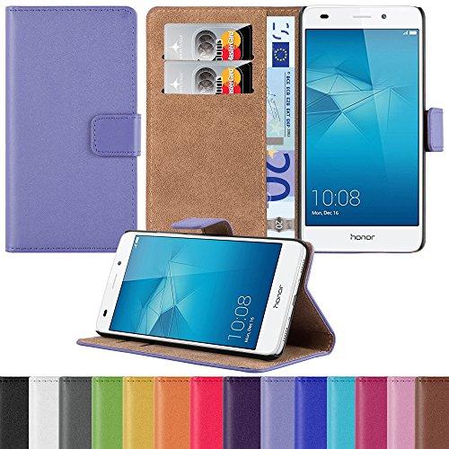 HANDYPELLE Tasche kompatibel mit Huawei Honor 5C im Bookstyle in Flieder - Handytasche Case Wallet Hülle Handyhülle Schutzhülle (Case Wallet 5c)