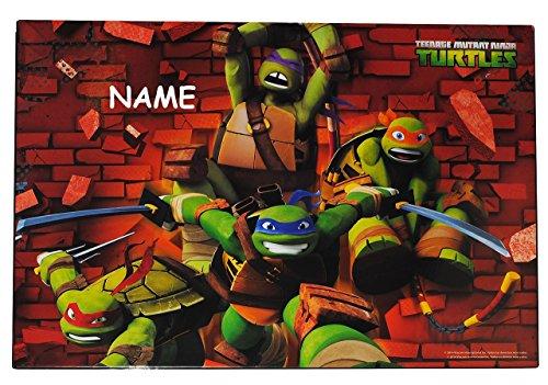 e - Teenage Mutant Ninja Turtles - incl. Name - 51 cm * 36 cm - Unterlage / Knetunterlage / Schreibunterlage / Tischunterlage Kunststoff PVC - Hero Schildkröten Donatello Michelangelo Raphael Leonardo TMNT - für Kinder Jungen (Tmnt Farben)