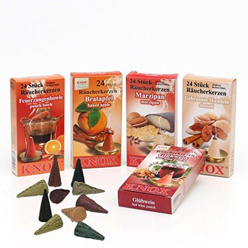 Poly-nadel (XL Sparpack 5 Päckchen Knox Räucherkerzen - Bratapfel, Marzipan, Gebrannte Mandel, Glühwein und Feuerzangenbowle)