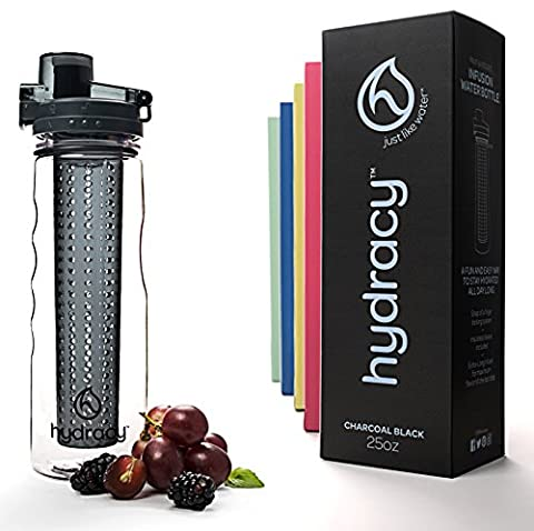 Hydracy Fruit Infuser Water Bottle with unique Insulated No-Sweat Sleeve - 750ml - BPA-Free - Ideal for Sports & Outdoors - Charcoal Black