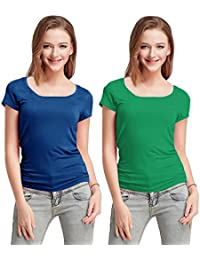 Fashion Line Cotton Lycra Tshirt for Girls/Women (Blue & Dark Green, Pack of 2)