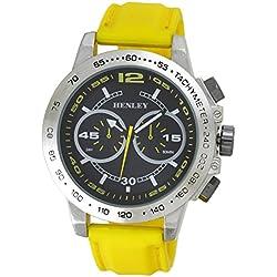 Mode Armbanduhr Henley Gents Decorative Multi-Dial Men'Eye Herren Quarzuhr mit schwarzem Zifferblatt Analog Quarz Silikon gelb H0208219