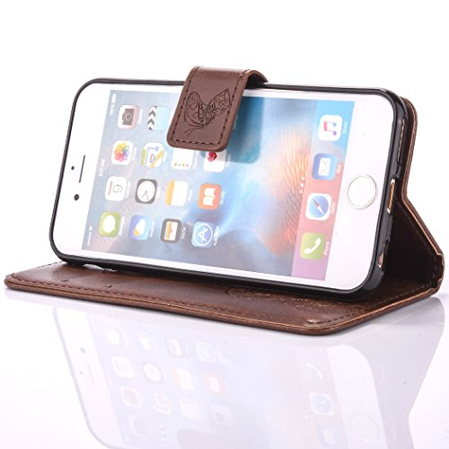 iPhone 6 6S (4,7 Zoll) Brieftasche Hülle - Cozy Hut Ultra Slim Leder Tasche Hülle Etui Schutzhülle Ständer Smart Cover Case für iPhone 6 6S (4,7 Zoll),[Campanula Blume Muster] PU Leder Flip Bookstyle  braun