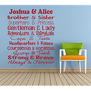 Personalised 'Brother & Sister' Quote, Vinyl Wall Art Sticker. Mural, Decal. Home, Wall Decor. Children's Bedroom, Playroom, Nursery. Siblings