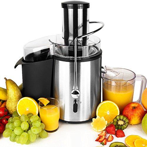 Deuba Entsafter für Obst und Gemüse aus Edelstahl Motorleistung max. 1050W große 85 mm Einfüllöffnung inkl. Reinigungsbürste Saftpresse Obstpresse Fruchtentsafter