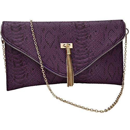 Womens intelligenter Tier Croc Druck Faux Leder Umschlag Handtaschen Geldbeutel Design 2 Purple