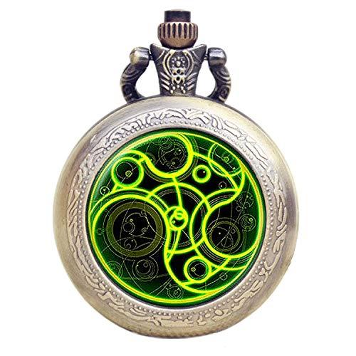 Dr Who Luminous Green Gallifrey Timelord sceau Effet bronze rétro/vintage Coque Full Hunter pour homme/garçon à quartz montre de poche–Collier sur chaîne de 81,3cm pouces/80cm