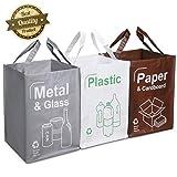 Opret Cubo Basura Reciclaje 3 Pack Bolsas de Reciclaje Separadas con Asas Gran Capacidad 49L para Papel,...