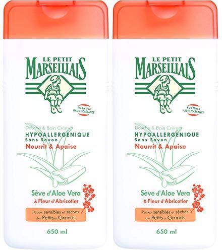 Le Petit Marseillais Douche et Bain Hypoallergénique Aloe Fleur Abricotier 650 ml - Lot de 2